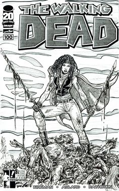 """In 2014 I got all the Walking Dead #100 covers, including the """"blank"""" one, and it hit me that I could photocopy it and draw as many cover ideas as I wanted featuring some my favorite WD characters just for fun. This was the first, featuring Michonne, hope ya like it! :-D (click the link to see the pencils-to-inks process) #arielsartwork #walkingdead #thewalkingdead #robertkirkman #charlieadlard #tonymoore #michonne #walkers #cover #sketchcover #sketch #pencils #inks #process #image…"""