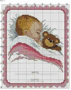Lovely idea for a new baby girl or, with the pink detail changed to blue, a new baby boy Baby Cross Stitch Patterns, Cross Stitch Love, Cross Stitch Charts, Cross Stitch Designs, Baby Patterns, Cross Stitching, Cross Stitch Embroidery, Hand Embroidery, Crochet Cross