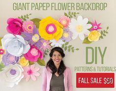FULL -Flores Gigantes de Papel (Moldes y Video Tutoriales)