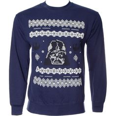 Star Wars Vader Christmas Jumper (Navy) ($46) ❤ liked on Polyvore featuring tops, sweaters, blue top, blue sweater, christmas sweater, jumper top and jumpers sweaters