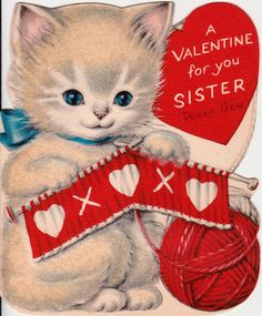 Vintage 1954 A Valentine For You Sister by poshtottydesignz