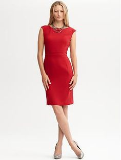 BR Monogram Seamed Zip Sheath (Lasalle Red). Banana Republic. $150.00