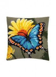 Kit coussin papillon royal, point de croix 40 x 40 cm, Bergère de France