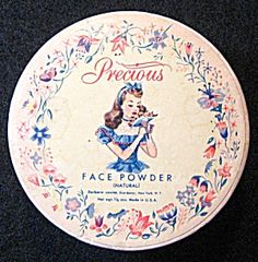"Vintage 1940s Precious Face Powder Sealed   Pretty Precious Natural Face Powder Box, Sealed, Unused.    Bold Graphics, Delicate Design.    Net Weight 1.5 oz    No writing or graphic on bottom half.   Circa: Post 1940   Condition: Pre-owned Unused   Size: 1.5"" Diameter x 1""h   Manufacturer: Barbara Louise Dists., NY USA"