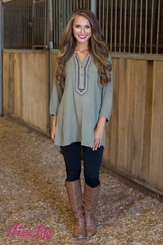 2621e407dbf You ll definitely be remembered in this beautiful olive tunic! We are in  love with the gorgeous flowy look - it s so effortlessly chic and relaxed!