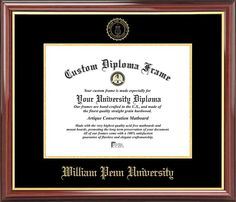 William Penn University Diploma Frame - Embossed Seal - Mahogany Gold Trim