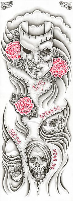"2011, A4 pigma micron, pencil and prismacolors Custom evil themed full-sleeve tattoo commission, there are some ""speak no"", ""see no"" and ""hear no"" cutted out lettering and red outlined roses. This ..."