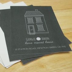Customised moving house cards