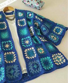 Ideas crochet dress lace boho for 2019 Crochet Jacket Pattern, Crochet Coat, Crochet Square Patterns, Crochet Squares, Crochet Clothes, Crochet Stitches, Crochet Phone Cover, Crochet Hat For Women, Crochet Fashion