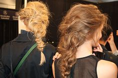 Rachel Zoe 2014 rough-dry hair, then random braids created and then woven together!