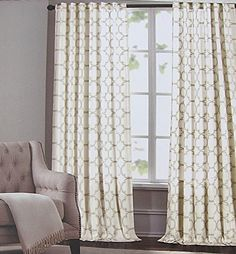 Tommy Hilfiger Diamond Lake Ivory Beige 2pc Window Curtain