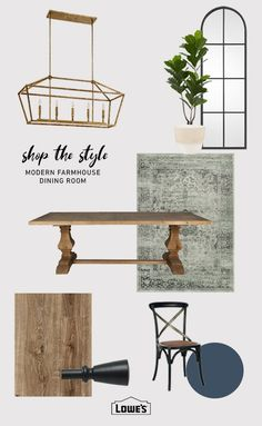 Shop our farmhouse collection at Lowes.com. Find quality home decor and more online or in store. #lighting #mirror #fiddleleaffig #rug #table #paint #chair #flooring #inspiration