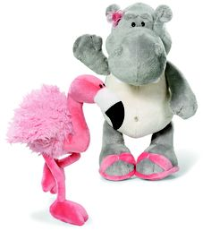 Nici.  Pierre is a Flamingo with a long pink neck, long  floppy legs and small fluffy wings. Mandy is a cuddly  Hippopotamus with a pink flower in her hair and  matching flip flops, 4 sizes from $10.99.  Childrensworld • First Floor.