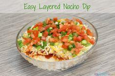 easy layered nacho dip recipe - super bowl recipe idea