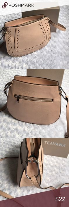 FRANCO SARTO BLUSH BAG Long strap adjustable. Perforated details around the front. Inside zipper with two easy access pockets. Outside zipper in rear. Silver hardware. Zipper across the top. Two areas are weakening a bit. Easy fix. Neutral HOT color!  Like new. I wore this as a cross body bag. Ex Franco Sarto Bags