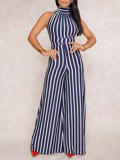 0716fdf19c3 Vertical Contrast Stripes Open Back Jumpsuit (S M L XL)  36.99