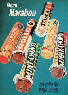 Marabou give me! Vintage Sweets, Vintage Candy, Vintage Labels, Vintage Posters, Vintage Photos, Retro Vintage, Old Poster, Commercial Ads, Japanese Graphic Design