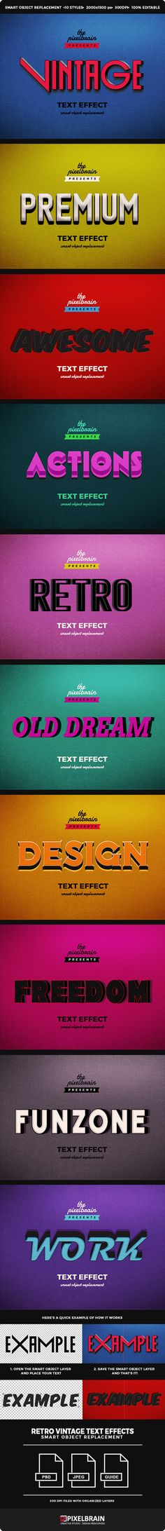 Retro Vintage Text Effects for Photoshop. Download: http://graphicriver.net/item/retro-vintage-text-effects/14059518?ref=ksioks