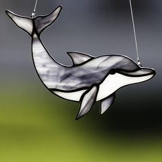 Stained glass dolphin suncatcher, stain glass dolphin ornament on Etsy