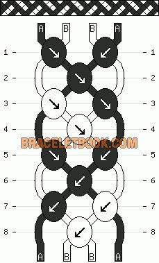 diagonal stripe basketweave easy friendship bracelet pattern 2 color 4 string