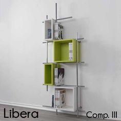 Libreria da parete in metallo Libera con 4 contenitori due quadrati e due rettangolari 78x25xh187cm