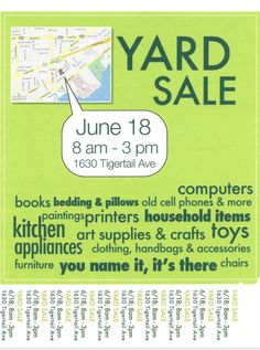 Miami Garage Sale w map Yard Sale Signs, Garage Sale Signs, For Sale Sign, Yard Sale Organization, Sample Flyers, Selling On Craigslist, Rummage Sale, Thrift Store Shopping, Merchandising Displays