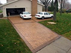 stamped concrete driveway border