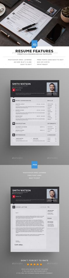 Resume — Photoshop PSD #resume #print ready • Download ➝ https://graphicriver.net/item/resume/19410367?ref=pxcr