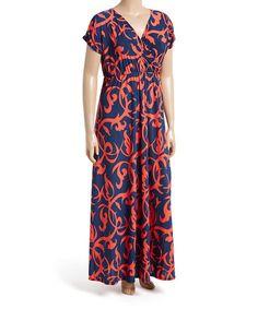 Navy & Coral Damask Maxi Dress - Plus #zulily #zulilyfinds
