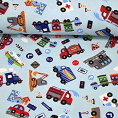 MAGAM-Stoffe Bunte Autowelt hellblau Jersey Kinder Stoff Oeko-Tex Meterware 50cm (Wunschzuschnitt ab 50cm) -  - 5.0 von 5 Sternen - DIY Stoffe und so Bunt, Kids Rugs, Cards, Decor, Coupon, Autos, Light Blue, Household, Homes