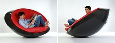 Italian design company IT ONEOFF, have designed 'UFO' a futuristic rocking chair. The name'UFO' comes from Unidentified Furniture Object, as it takes its inspiration from the shapes of flying saucers. It's made from a single piece of carbon fiber, with a handmade leather seat, and the design enables it to rock but never flip over.
