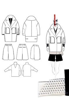 Fashion Sketchbook - fashion design drawings & fabric layout; fashion student portfolio // Andrew Voss