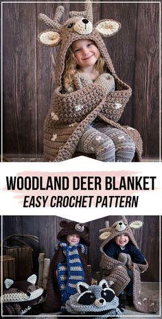 crochet Woodland Deer Blanket pattern - easy crochet blanket pattern for beginners The Effective Pic Crochet Simple, Crochet Blanket Patterns, Crochet For Kids, Crochet Stitches, Free Crochet, Knit Crochet, Beginner Crochet, Crochet Afghans, Crotchet