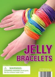 jelly bracelets... I hooked them together and used them as a jump rope in elementary school.