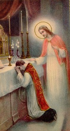 Symbols: There are many symbols and rituals involved in the sacrament of Holy Orders. In the image above it can be seen that a priest is kneeling at an altar. This a a sign of humility and obedience to God and Christ. Catholic Prayers, Catholic Art, Catholic Saints, Roman Catholic, Religious Art, Catholic Doctrine, Religious Paintings, Sacrament Of Holy Orders, Vintage Holy Cards