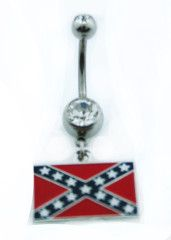 Rebel Flag Dangle Belly Ring Surgical Steel
