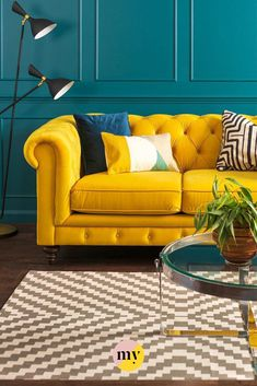 Monty Two Seat Sofa Mustard – Sofa Design 2020 Teal Living Rooms, Colourful Living Room, Living Room Sofa, Home Living Room, Interior Design Living Room, Living Room Designs, Living Room Decor, Interior Design Yellow, Mustard Sofa
