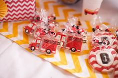 Love these firetruck cookies! Adorable! Fire Truck Themed Birthday Party with Lots of Really Cute Ideas via Kara's Party Ideas   KarasPartyIdeas.com #FiremanParty #FiretruckParty #PartyIdeas