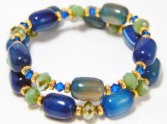B98  Genuine Gemstones Unique glass beads Swarovski by Yvets, $15.00