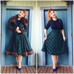 winter women vintage swing midi brace skirt in green tartan pinup suspender skirts plus size retro rockabilly faldas Vestidos Rockabilly, Rockabilly Outfits, Rockabilly Fashion, Pin Up Outfits, Outfits 2016, Emo Outfits, Retro Fashion 50s, Vintage Fashion, Modern 50s Fashion