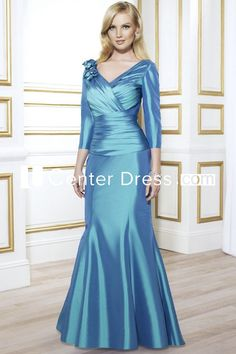 $124.09-V-Neck Long Sleeve Floral Satin Mother Of The Bride Dress With Sleeves. http://www.ucenterdress.com/v-neck-long-sleeve-floral-satin-mother-of-the-bride-dress-with-ruching-pMK_300239.html.  Tailor Made mother of the groom dress/ mother of the brides dress at #UcenterDress. We offer a amazing collection of 800+ Mother of the Groom dresses so you can look your best on your daughter's or son's special day. Low Prices, Free Shipping. #motherdress