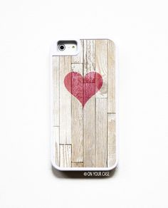 iPhone 5 Case iPhone 5S Case Silicone Lined Tough Case - Wood Geometric Heart