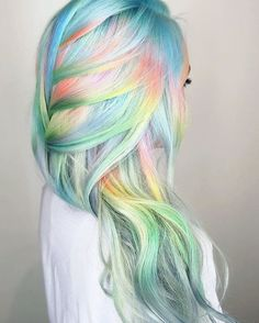 Pastel rainbow hair hair, 2019 hair styles, unicorn hair color ve dyed Pastel Rainbow Hair, Colorful Hair, Bright Hair, Rainbow Hair Colors, Multicolored Hair, Unicorn Hair Color, Mermaid Hair Colors, Mermaid Style, Pelo Multicolor
