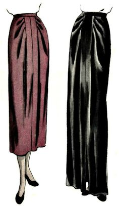 Vogue 6502 This is a vintage sewing pattern for a draped skirt. Slim skirt in short or long length. Soft pleats each side of Vintage Skirt, Vintage Dresses, Vintage Outfits, 1940s Fashion, Vintage Fashion, Vintage Vogue Patterns, Draped Skirt, Dress Making Patterns, Vintage Trends