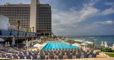Walk to the beach from this seaside hotel in Tel Aviv, featuring a saltwater pool, spa, 5 restaurants and a Grand Ballroom. Hotels And Resorts, Best Hotels, Independence Park, Tel Aviv Hotels, Israel Travel, Israel Trip, Hotel Motel, City That Never Sleeps, Hotel Deals