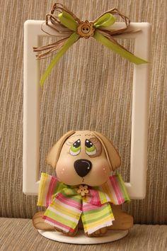 Cagnolino in gomma crepla, decorazione cornice..