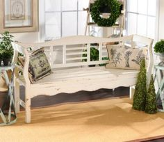 Would repaint and add cushion. Like a less distressed look. Distressed White Wood Bench | Kirkland's