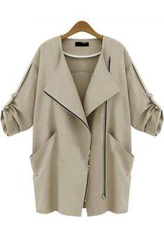 Khaki Plain Pockets Turndown Collar Trench Coat