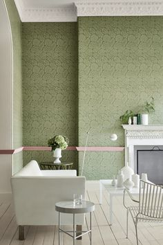 Palace Road - Oakes Wallpaper by Little Greene. The pink dado rail in this scheme adds a pop of warm colour to this scheme and really accentuates this beautiful wallpaper. A great idea to try at home. Interior Design Living Room, Home, Bathroom Wallpaper Trends, House Styles, Wallpaper Living Room, Bathroom Decor, Dado Rail Living Room, Little Greene, London Wallpaper
