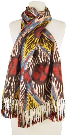 Handwoven silk ikat scarf by master Uzbekistan artisan Rasuljon Mirzaahmedov.